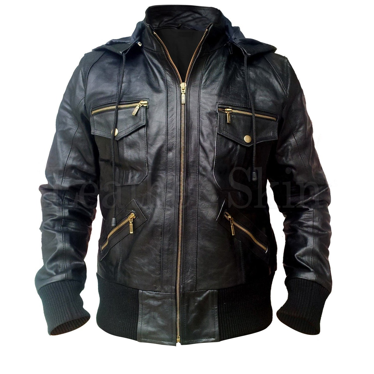 NWT Stylish Black Men Genuine  Leather Jacket with Hoodie