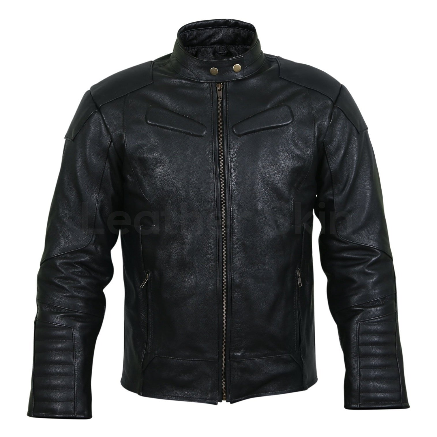 quilted padded leather jacket mens