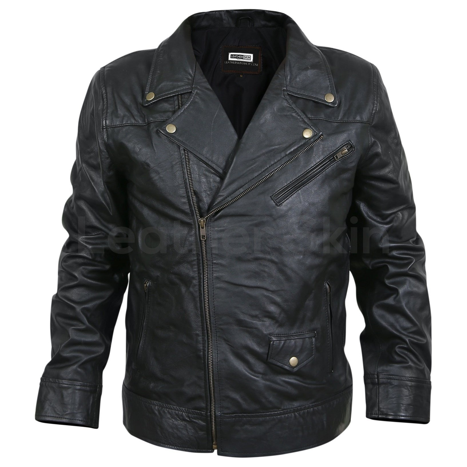biker leather jacket with Antique Zippers