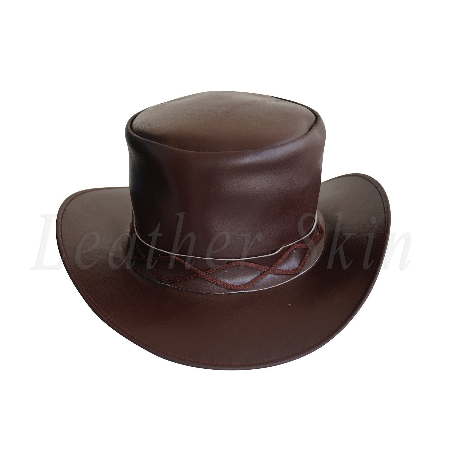 Men Black Leather Rock Hat Fields of the Nephilim Carl McCoy Goth Steam punk