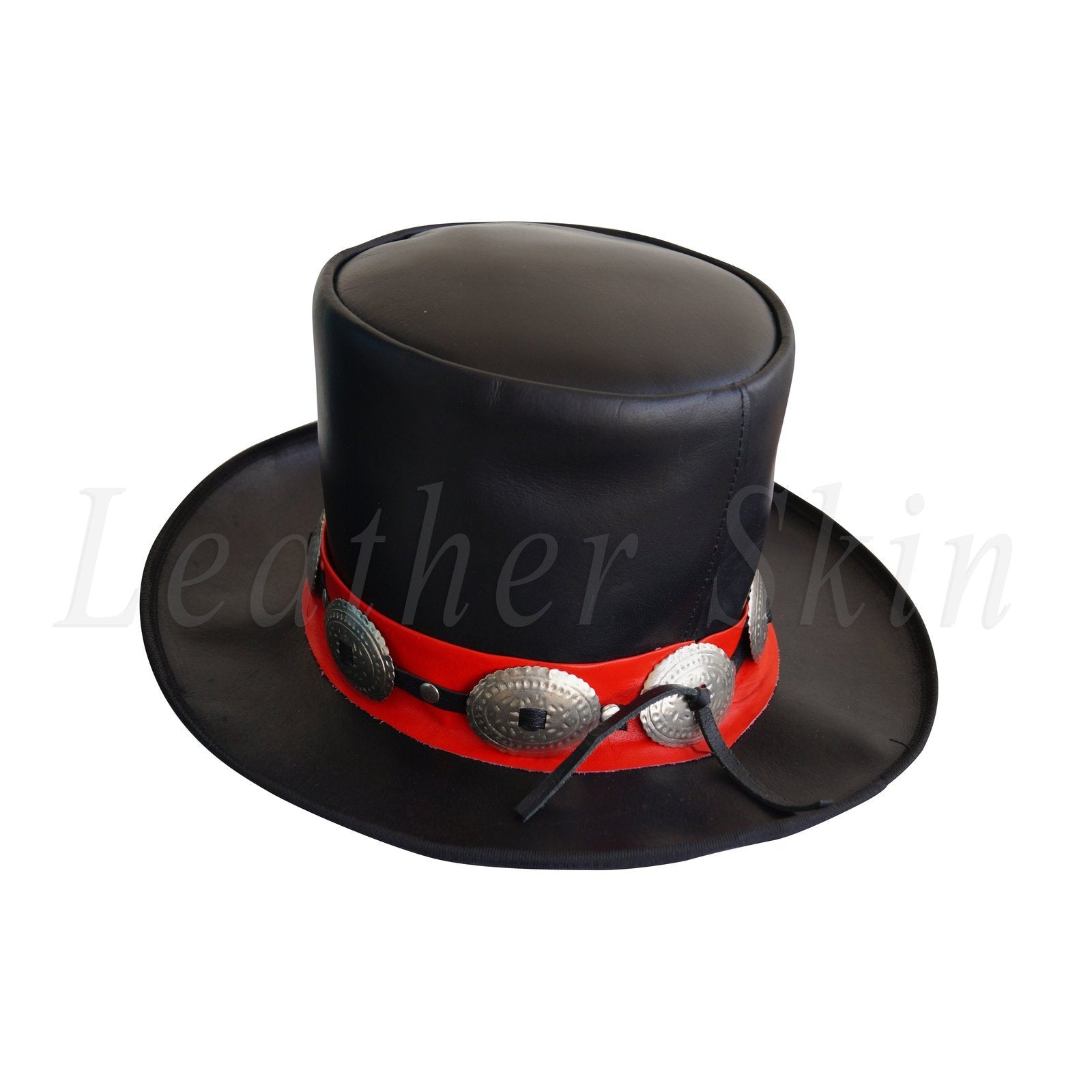 Men Black Leather Wild West Top Hat with Conchos Formal & Fancy Dress Red Stripe