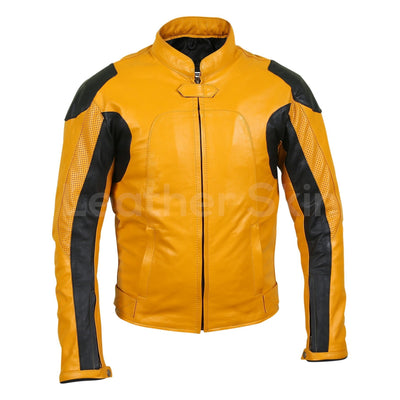 mens yellow biker leather jacket