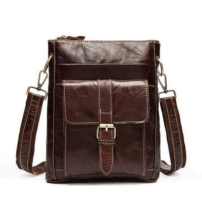 Men Brown Genuine Cow Leather Bag Messenger Crossbody