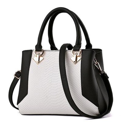 Women Dual Color Combo Fresh Faux-Leather Tote Bag