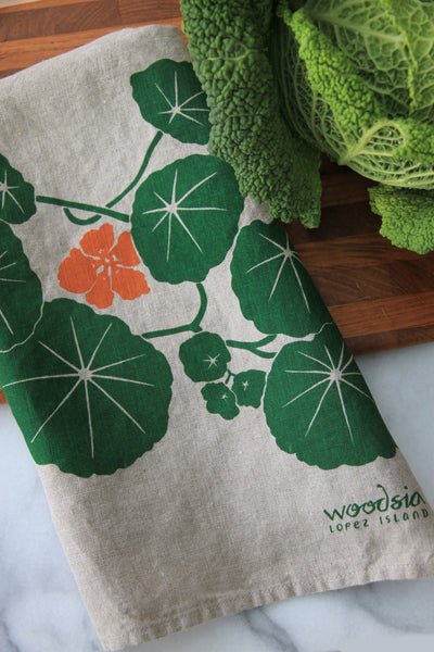 Nasturtium Kitchen Towel on Natural Linen