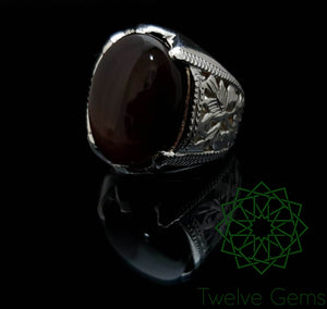 Cherry Red Agate Intricate Design Silver Ring