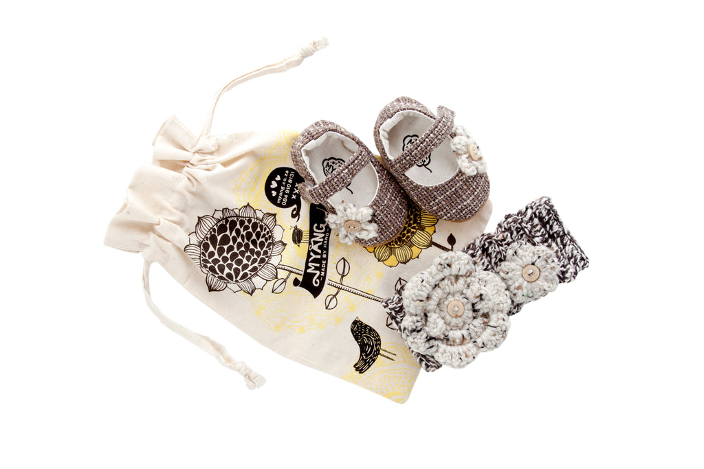 Sets / Girls - Tweed Mary Jane Shoes and Crochet Headband - M0137