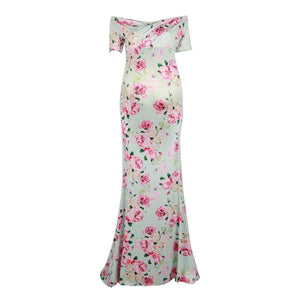 Off the shoulder floral print fitted maternity dress front view