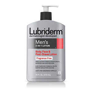 Lubriderm Men's 3-In-1 Lotion, Body, Face And Post-Shave Lotion, Fragrance Free - 473 ml