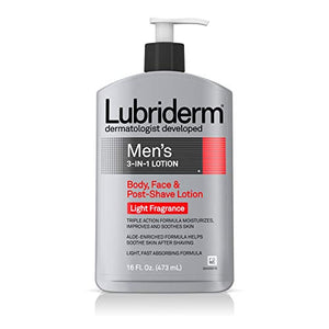 Spotlight! Lubriderm mens 3 in 1 body, face and post shave lotion, light fragrance - 16 oz