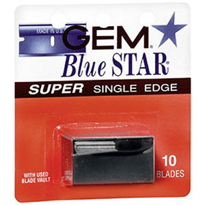 Gem Blue Star single edge razor blades - 10 ea, 12 pack