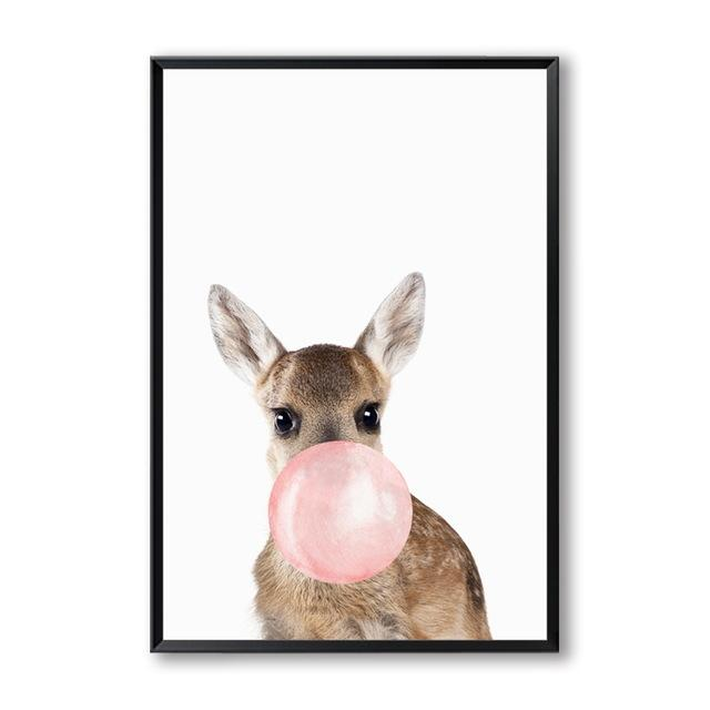 Animals Bubble Gum Art Canvas Wall Art