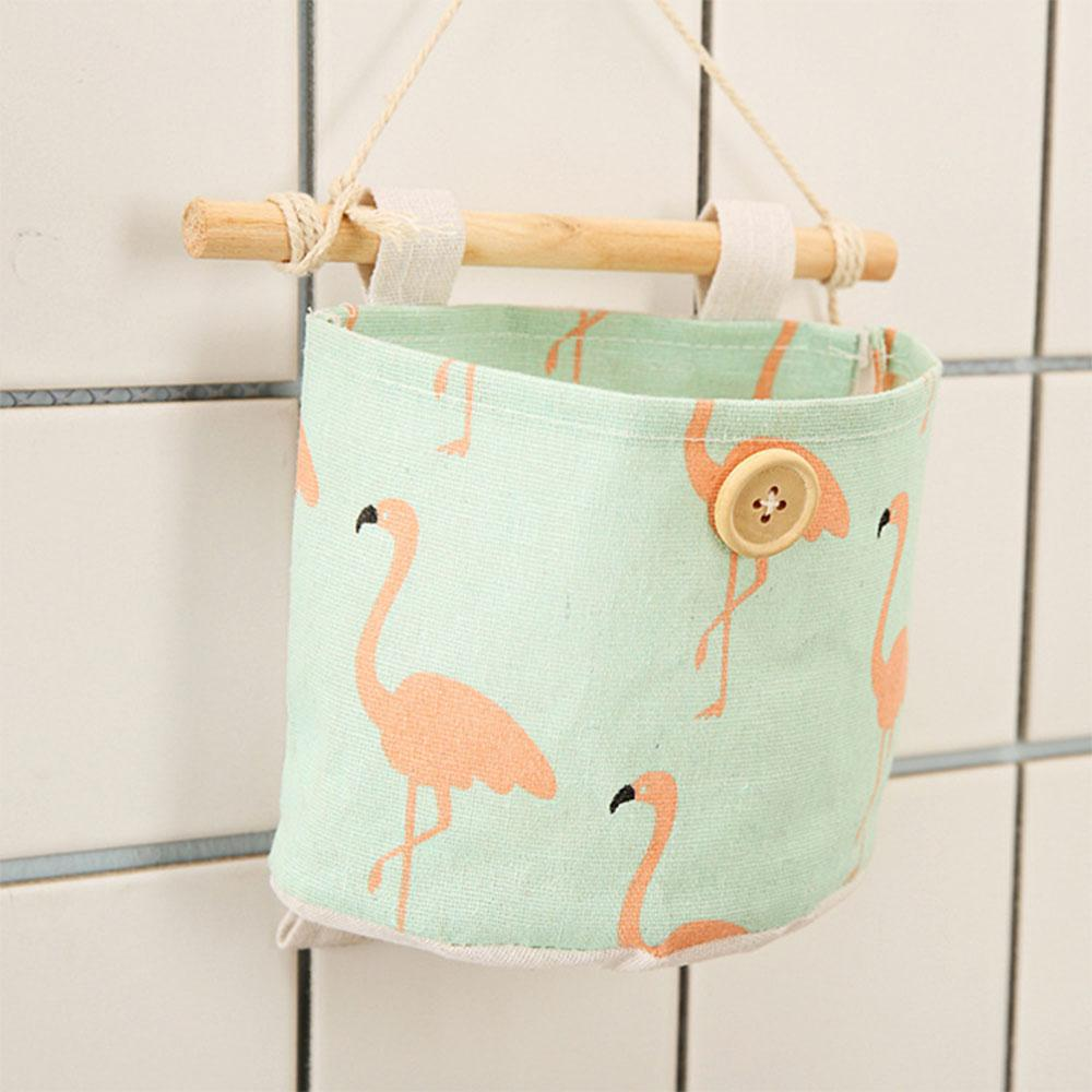 Flamingo Wall Mount Hemp Storage Bag