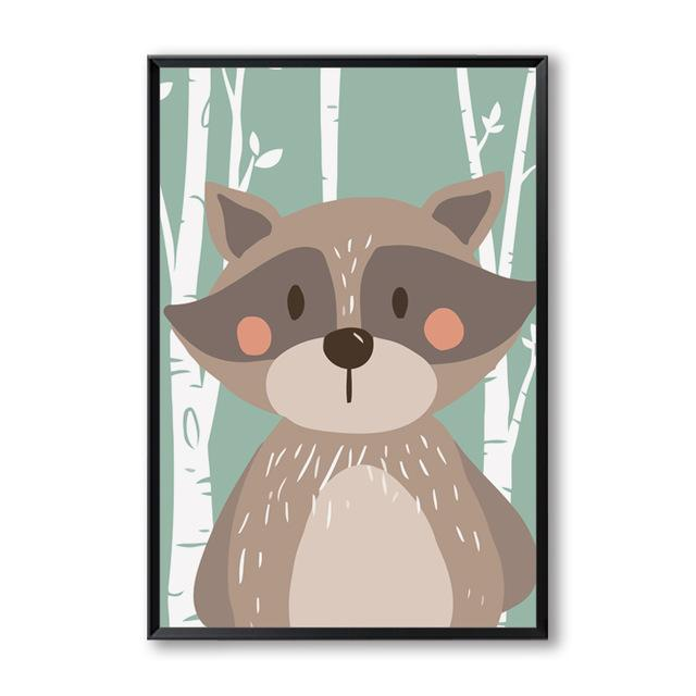 Cartoon Animal Forest Canvas Wall Art