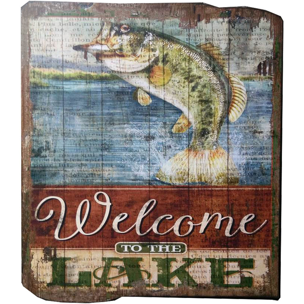 Fish Wall Art | Welcome To The Lake Bass Fishing Sign