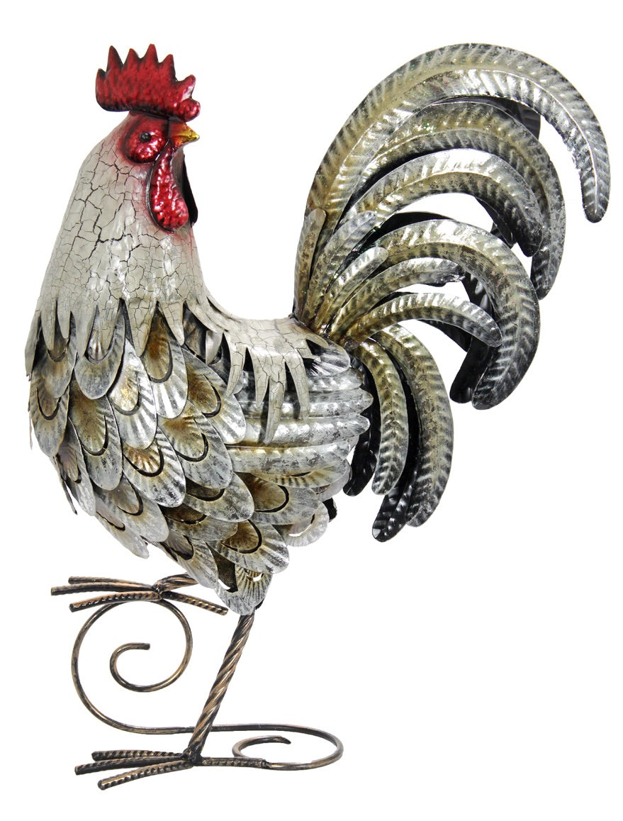 White And Gold Metal Rooster Statue