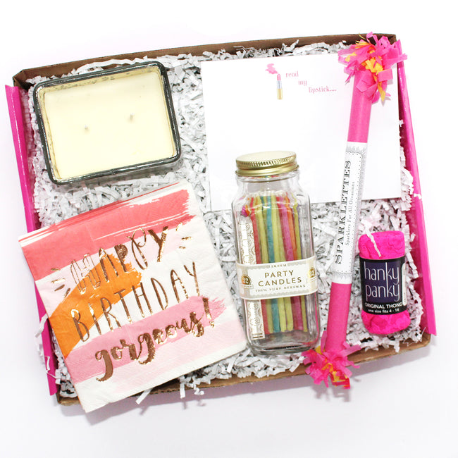 happy birthday gorgeous box which includes volcano candle, candles, napkins, sparklette, notepad,hanky pankys