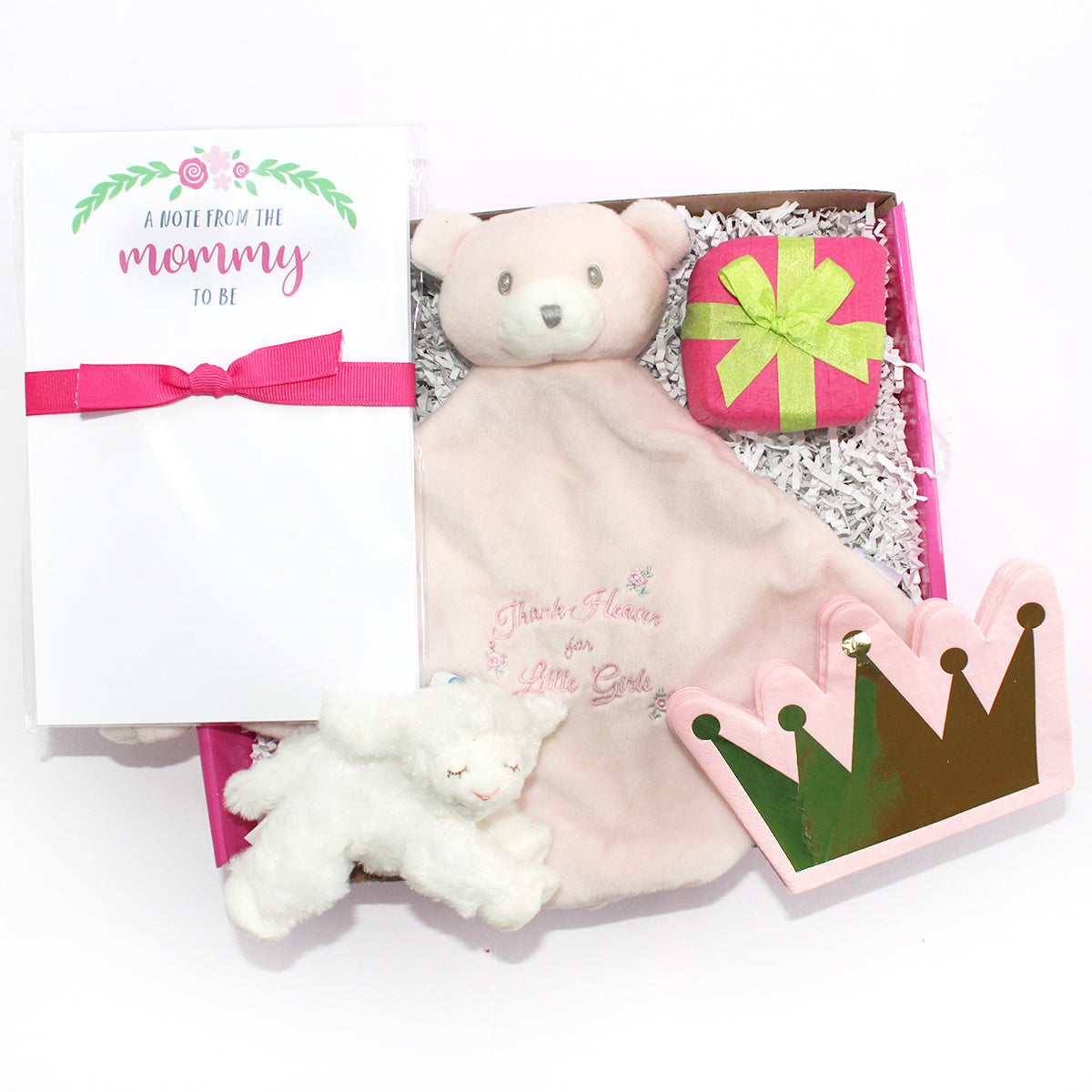 the perfect box for the new mommy. prepares her for the arrival of her new baby girl with princess crown napkins, pink lovey, soon to be mommy notepad, surprise, winky lamb rattle