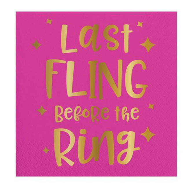 Last fling before the ring beverage napkins! Perfect for a bachelorette party