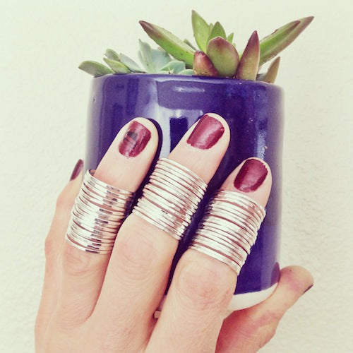 Stacking rings silver with succulent Agapantha Jewelry smaller version.jpeg
