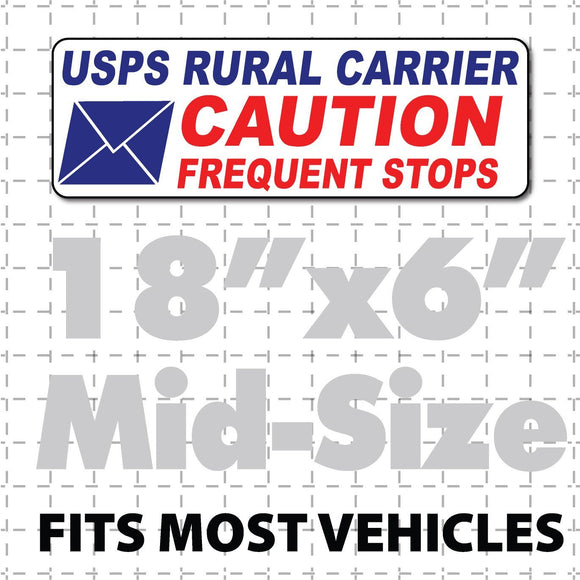 Rural Carrier Magnet Caution Frequent Stops Magnetic Sign 18x6