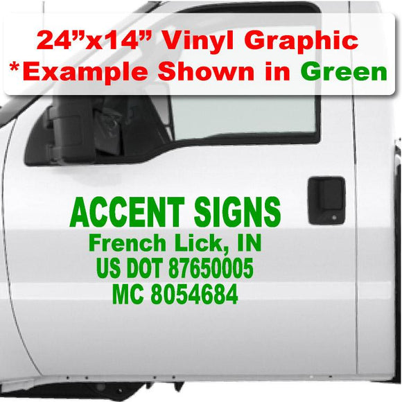 Custom USDOT vinyl sticker for trucks and semis to meet US dot number compliance 4 text lines Company name & US DOT numbers.