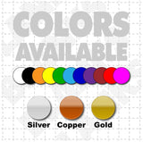 Color chart showing available colors for blank magnetic sign sheets black silver white blue green red gold and more available