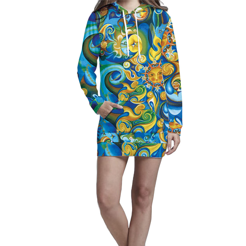 Nostalgic Prints Aquarius & Gold Hoodie Dress. Casual, warm, and stylish hoodie dress.