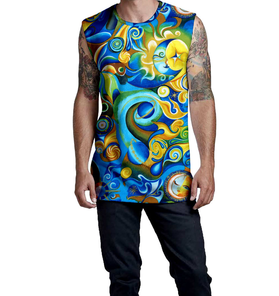 Nostalgic Prints Polyester/Cotton Blend Muscle T-Shirt