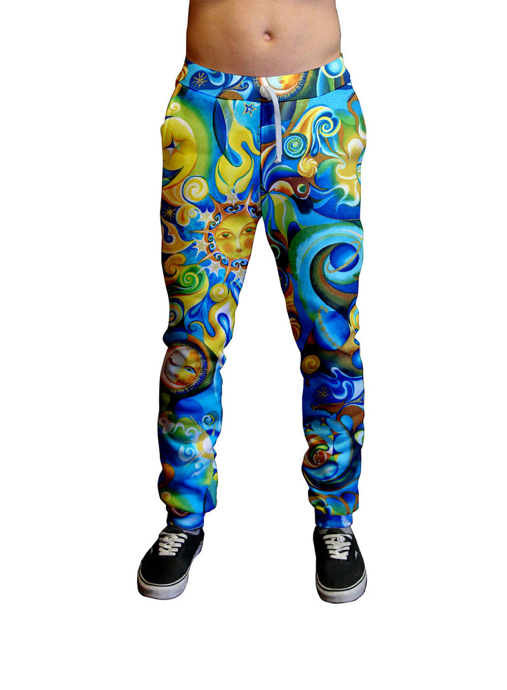 Aquarius Blue and Gold Unisex Jogger.  Moisture Wicking Tapered Leg Pockets Soft Fleece Fabric Sturdy draw cord waistband