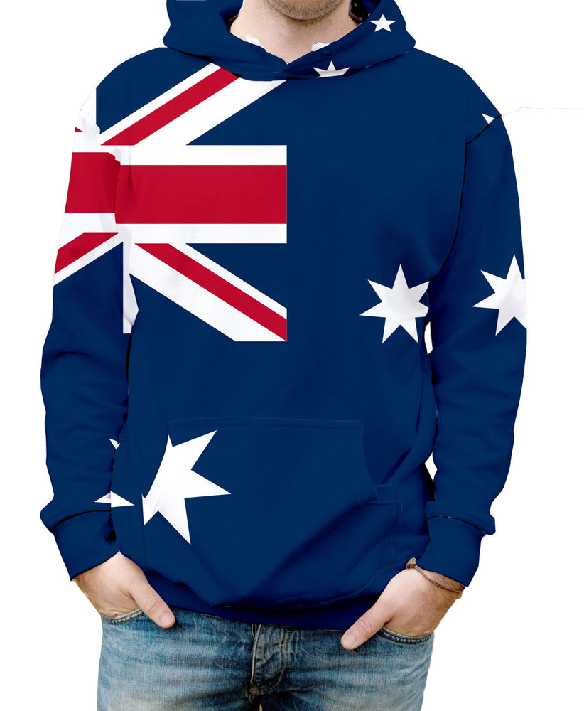 Australia Hooded Sweatshirt. Show your patriotic pride in Nostalgic Prints Nations Collection  Warm & Soft 100% Premium Microfiber Polyester HD All-Over Graphic Print Pre-Shrunk Fabric