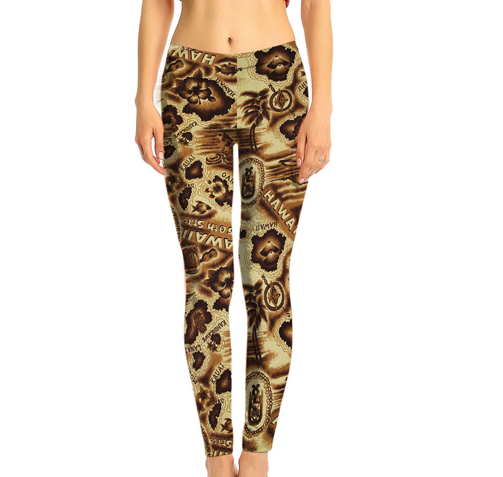 Antiqued Hawaiian Islands Print Full Length Leggings made with recycled plastic bottle fabric. Protect your oceans and the tropical places we love to visit by wearing eco-friendly garments.  Super Soft Ultra Light Eco-Fabric Sustainable Activewear
