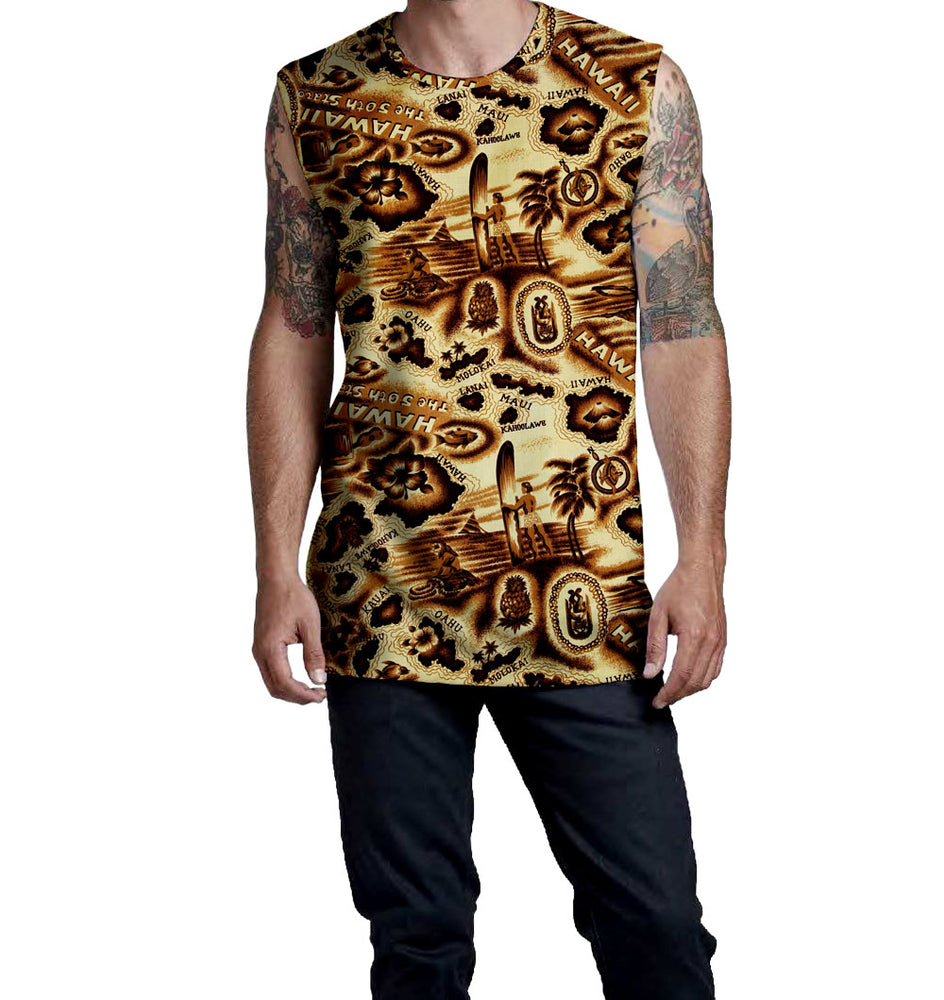 Antiqued Hawaiian Islands Pattern on the Nostalgic Prints Sleeveless Muscle T-Shirt  Fitted Sleeveless Muscle Tee Relaxed Neckline T-Shirt length on longer side Styled to Please