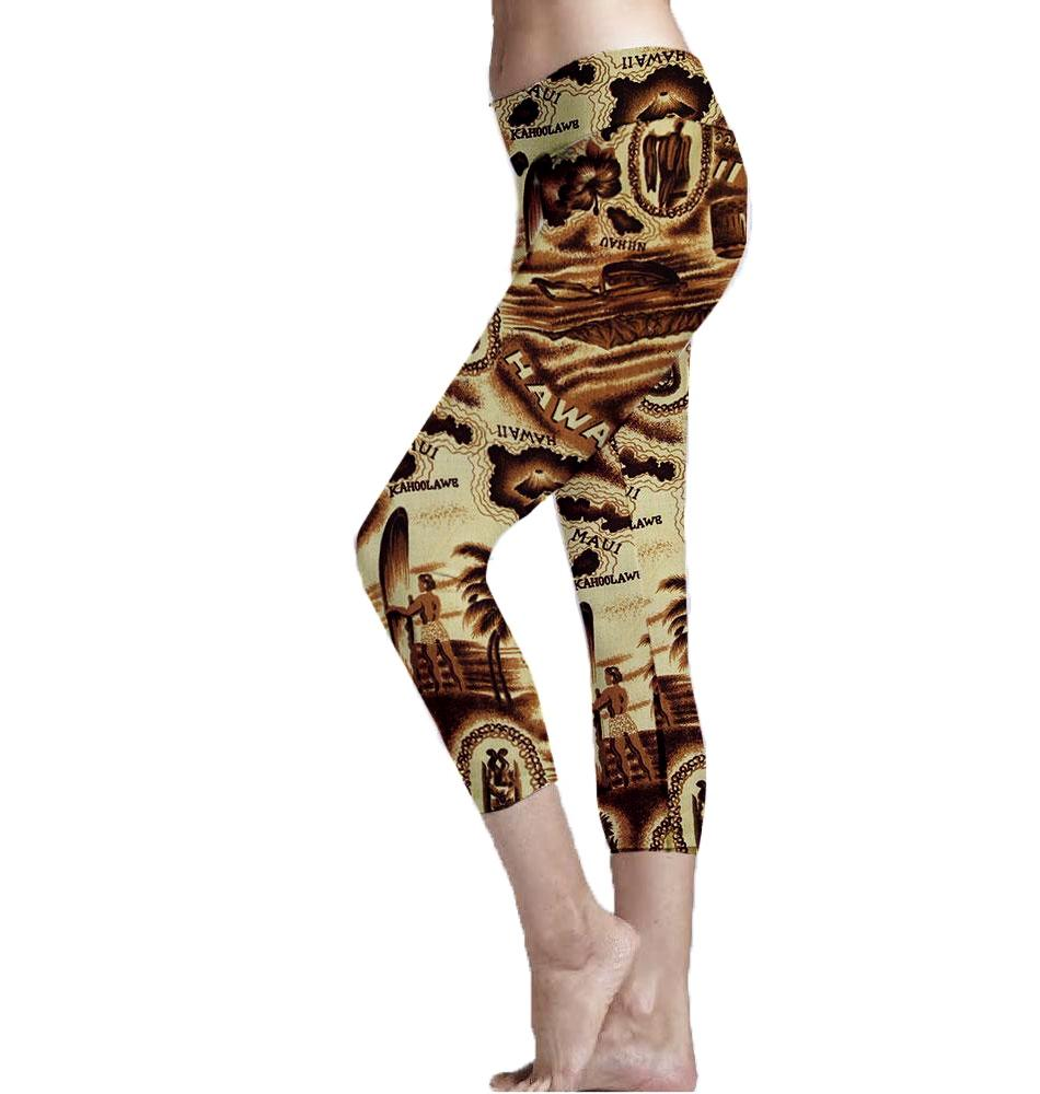 Antiqued Hawaiian Island Print Cropped Leggings blend the memories of every Hawaiian vacation. Made with recycle plastic bottle polyester fabric.  Super Soft Ultra Light Eco-Fabric Mid Shin Length Cropped Leggings Sustainable Activewear