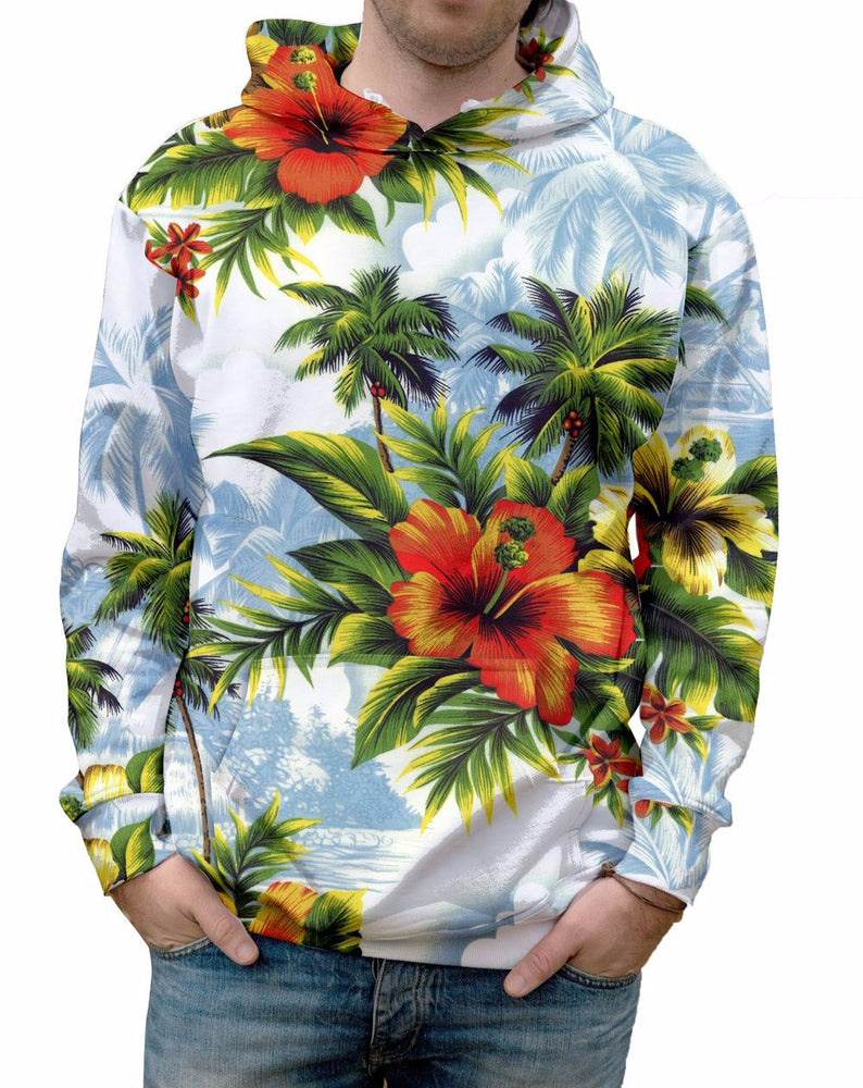 Hibiscus Dream Hawaiian Print Hoodie brings you right back to summer. 100% Polyester Ultra Soft Fabric.