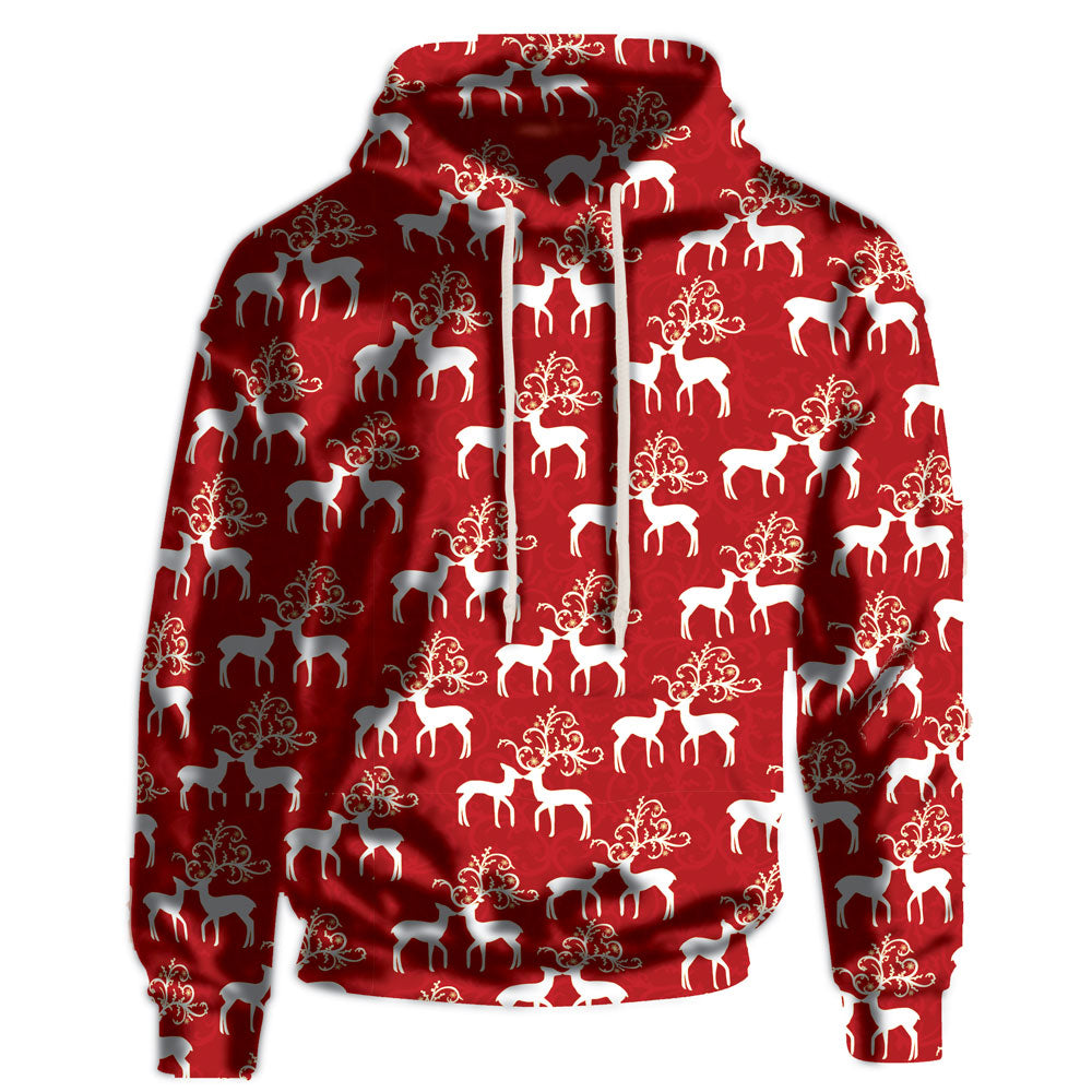 Kissing Reindeer Red Hoodie 100% Polyester Super Soft Fabric