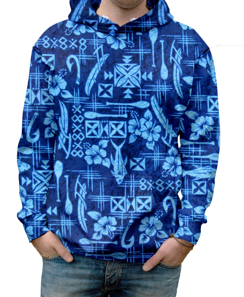 Nostalgic Prints Outrigger Fisherman Blue Hawaiian all over print vibrant multi-colored hooded sweatshirt.