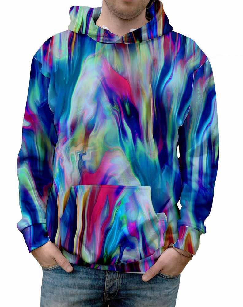 Nostalgic Prints Vibrant Paint Pour all over print vibrant multi-colored hooded sweatshirt.   Warm & Soft 100% Premium Microfiber Polyester HD All-Over Graphic Print