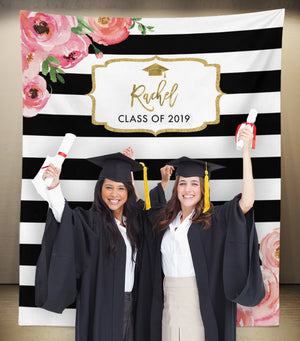 Floral Graduation Party Backdrop | Class of 2019 Photo Booth Backdrop - Blushing Drops
