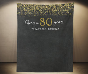 Cheers to 30 Years Backdrop | Adult Birthday Party Backdrop Decorations - Blushing Drops