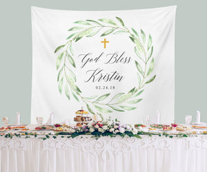God Bless Baptism Backdrop | Personalized Baptism Celebration Banner - Blushing Drops