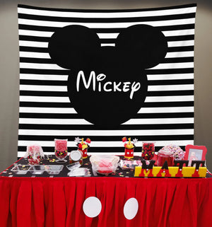 Mickey Mouse Backdrop for Parties | Mickey Photo Backdrop - Blushing Drops