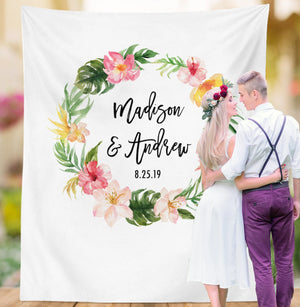 Tropical Wedding Backdrop, Beach Wedding Decorations, Tropical Party Photobooth Backdrop, Hawaiian Wedding Banner, Luau Tropical Backdrop - Blushing Drops