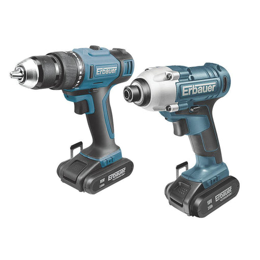 Erbauer ERI742KIT 18V 2.0Ah Li-Ion   Cordless Combi Drill & Impact Driver Twin Pack - Image 1