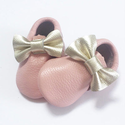 Pink with Gold Bow Moccasins