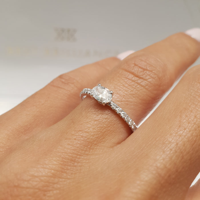 Stacking Ring - Oval Cut Diamond in Pave style 14k White Gold #J99199