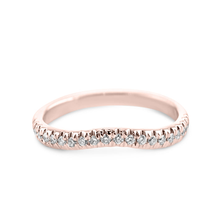 0.2 Carat Diamond Wedding Band - 14K Rose Gold Curved Setting #855W_RDR