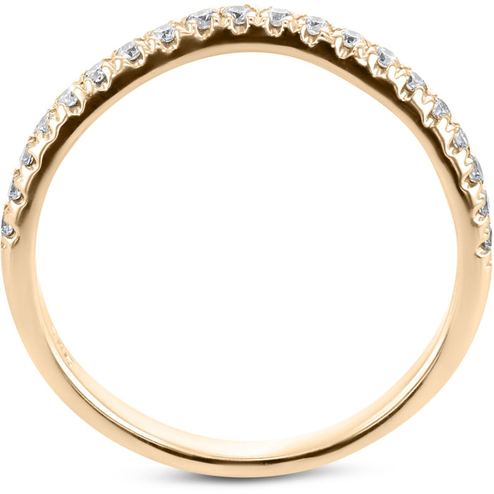 0.2 Carat Diamond Wedding Band - 14K Yellow Gold Curved Setting #855W_RDY