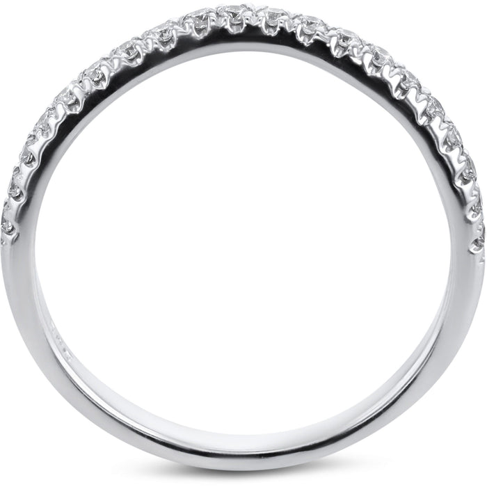 0.2 Carat Diamond Wedding Band - 18K White Gold Curved Setting #855W_RD2