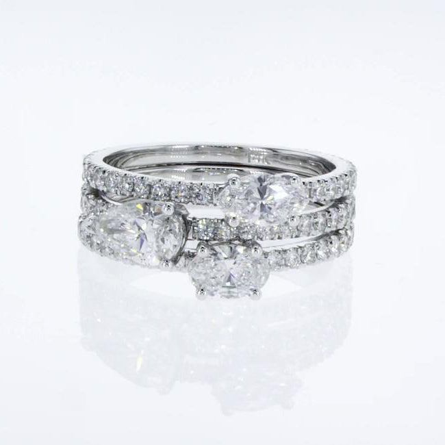 3 Stacking Rings Set - Pear Marquise & Oval Diamonds in Pave style 14k White Gold #J99202